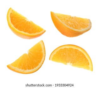 Set with tasty ripe slices of orange on white background