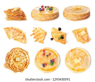 Set of tasty thin pancakes with different toppings on white background