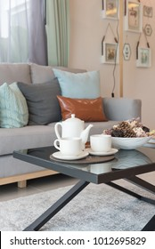 set of tea cup on tray in modern living room, interior design concept