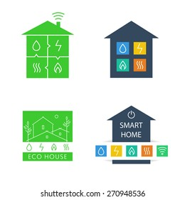 Set template logos. Eco-friendly house. Natural resources and energy icons. Smart home
