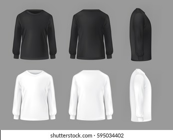 set template of male T-shirts with long sleeve
