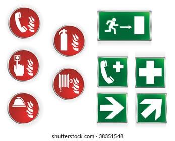 Set of ten commonly used emergency symbols.