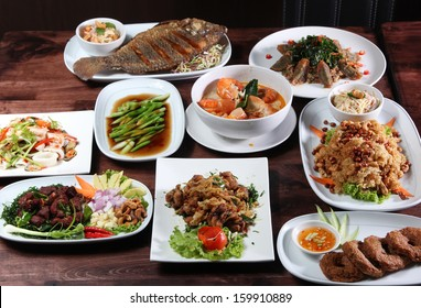 Set of Thai food popular menu