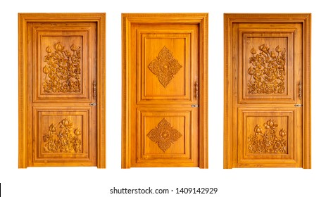 Set of Thai wooden doors isolated on white background.