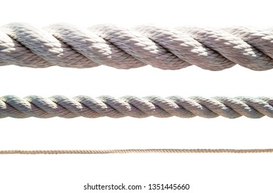 Set of thick and thin ropes isolated on white background