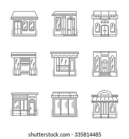 Set of thin line design icons for storefronts. Shops, stores, cafe, hotel and other samples building exterior. Elements of web design for business and site.