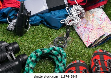 set of things for extreme trekking in the mountains