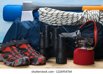 set of things for survival in the forest and outdoors in the mountains