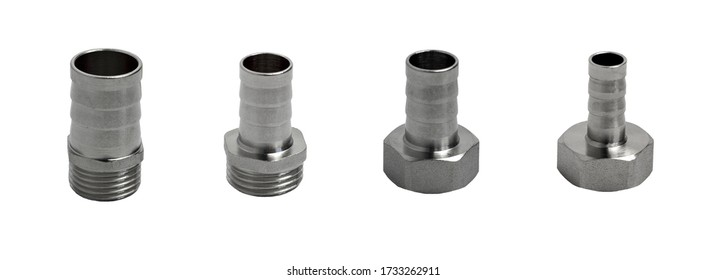 Set of threaded metal connectors for connection with hose barbs isolated on white background. Pipe fittings.