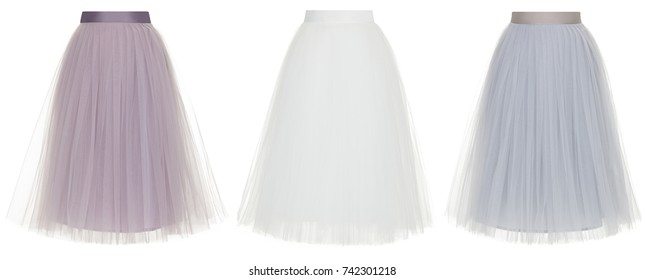 76a79df8f5 Set of three beautiful skirts of chiffon, lilac, white and gray isolated on  white
