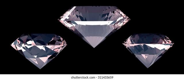 Set of three big diamonds. Black background. 3D render.