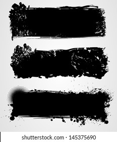 Set of three black grunge banners for your design. For vector version of this image please see my portfolio.