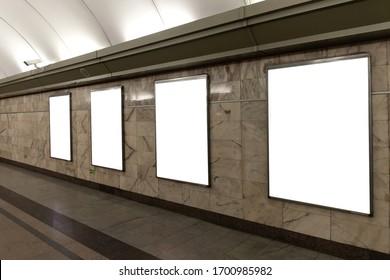 Set of three Blank billboard in metro station