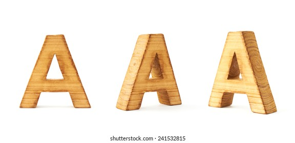 Set of three block wooden capital A letters in different foreshortenings isolated over the white background