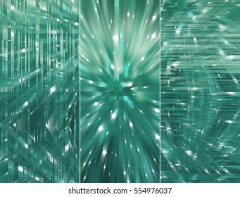 Set of three blue and green backgrounds and illustrations with abstract picture