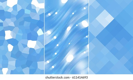 Set of three brown  backgrounds and illustrations with abstract picture