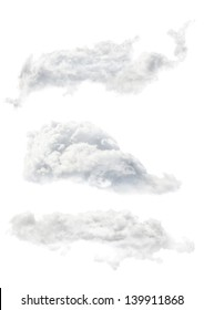 set of three clouds isolated on white background