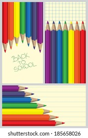 A set of three colored pencils background with space for your message and handwritten Back to School