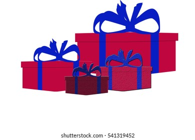 Set of three different colorful isolated present gift boxes - flat style  illustration