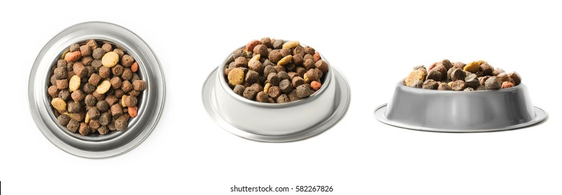 Set of three dishes dry pet food in a metal bowl isolated on white background. Top, half and front view
