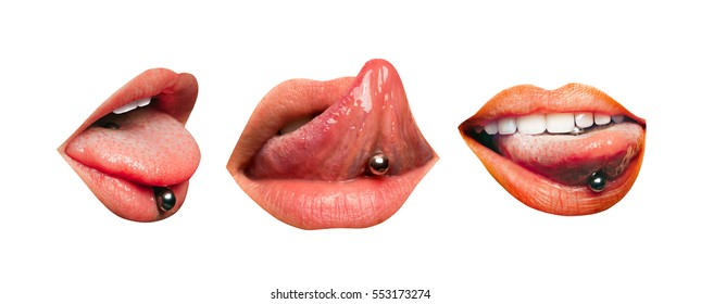 Set of three female lips with piercing in tongue isolated on white background. Sensual girl's mouth, tongue up and down, showing jewelry earrings with white teeth and a natural lipstick on the lips