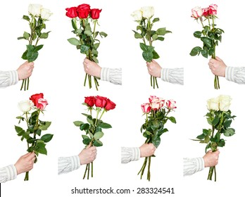 set of three and five rose flowers bouquets in hand isolated on white background