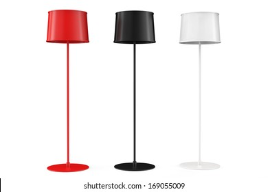 Set of three floor lamps on a white background