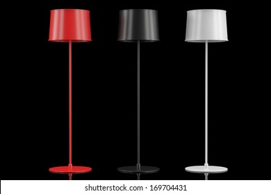 Set of three floor lamps on a black background