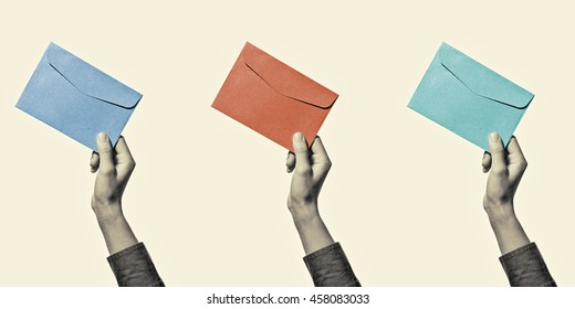 Set of three images of a hand with envelope, of different colors, isolated, toned, black and white