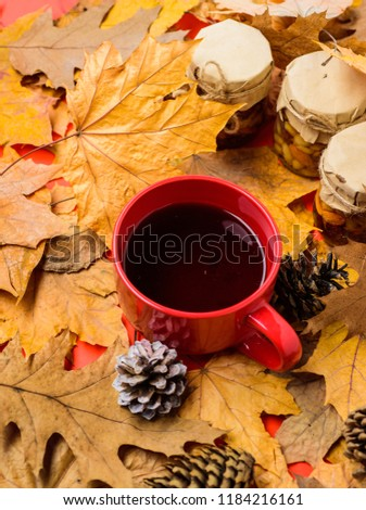 1431d665f5d Set three jams honey natural sweets in jars and mug of tea background  covered fallen leaves