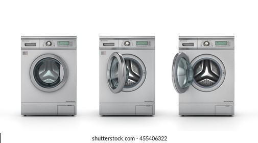 Set of three modern washing machines in metallic color. Closed, half open and open washing machine.  3d illustration