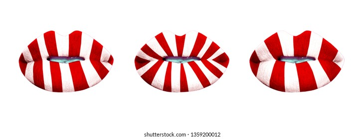 A set of three mouths with red and white striped lips on white background. Candy cane lips. Beauty store banner, makeup demonstration, lipstick swathes. Christmas, birthday, hen party symbol.