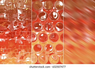 Set of three orange backgrounds and illustrations with abstract picture