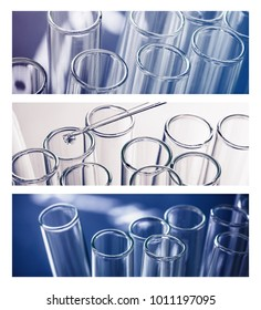 Set of three panoramic science backgrounds with transparent glass laboratory flasks.