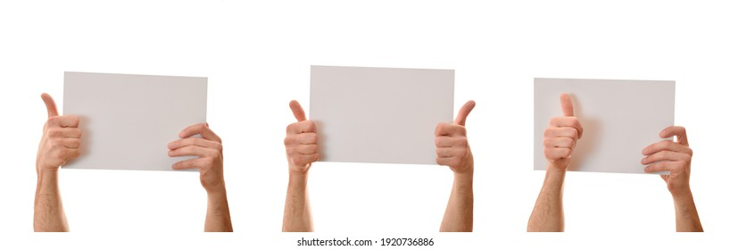 Set of three posters holding with both hands ok gesture with white isolated background