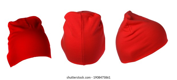 set of three red knitted hat isolated on white background .