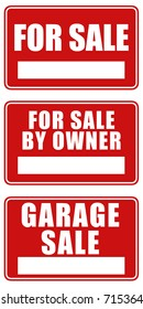 Set of three signs: For sale, For sale by owner and Garage sale