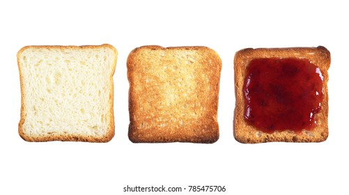 Set of three slices of small toast bread. White, roasted and with jam isolated on white background, top view