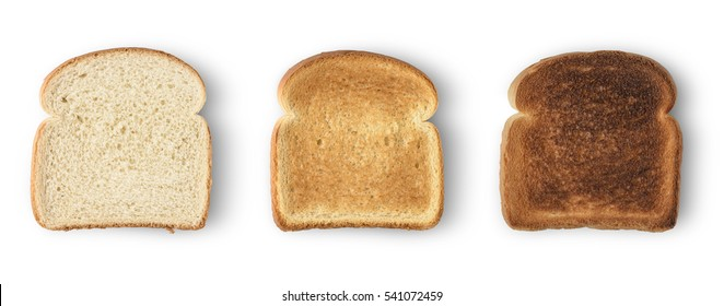 Photo of Set of three slices toast bread isolated on white