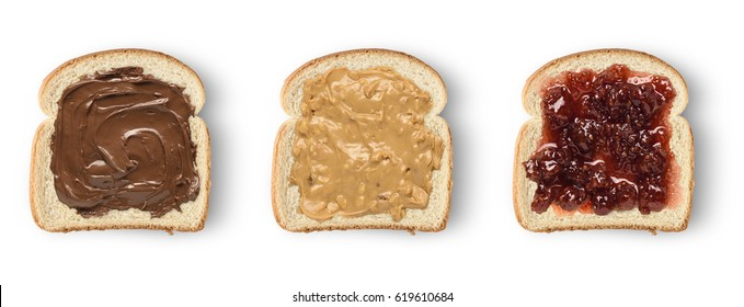 Set of three slices toast bread with chocolate spread, peanut butter and jam. Isolated on white
