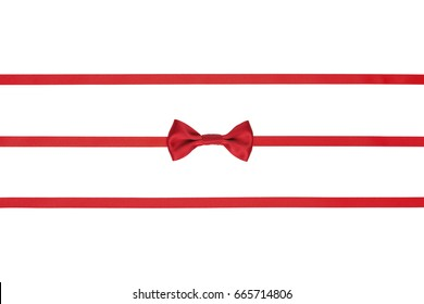Set of three thin red silk ribbons and bow isolated on white