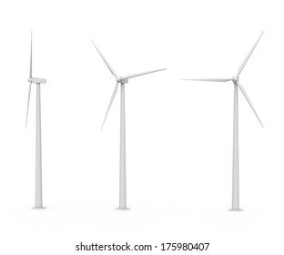 set of three various wind turbines isolated on white background