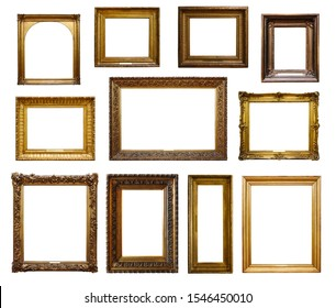 Set of three vintage golden baroque wooden frames on white isolated background