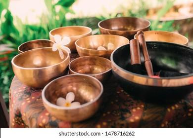 Set of tibetan singing bowls for yoga, spa salon, meditation, sound massage and healing, spiritual practices