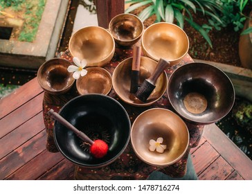 Set of tibetan singing bowls for yoga, spa, meditation, sound massage and healing, spiritual practices