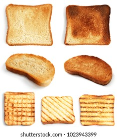 Set of toast bread slices on white background