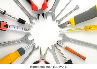 Set tools arranged around circle on white background.