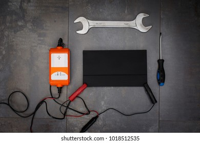 Set of tools with a blank envelope