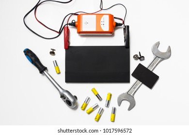 Set of tools with a blank envelope and business card