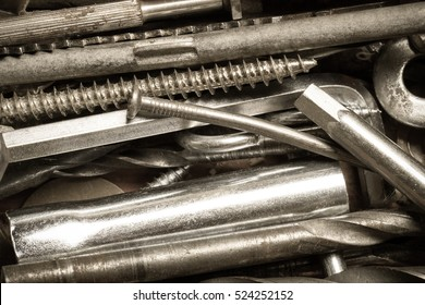 Set of tools and different contraptions. Top view. Toned.